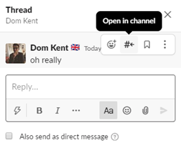 Slack thread in channel
