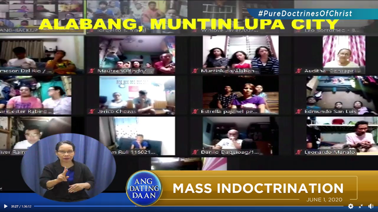 Guests from Alabang Muntinlupa City listening attentively to Bro Eliseo Soriano during Live Mass Indoctrination via Zoom