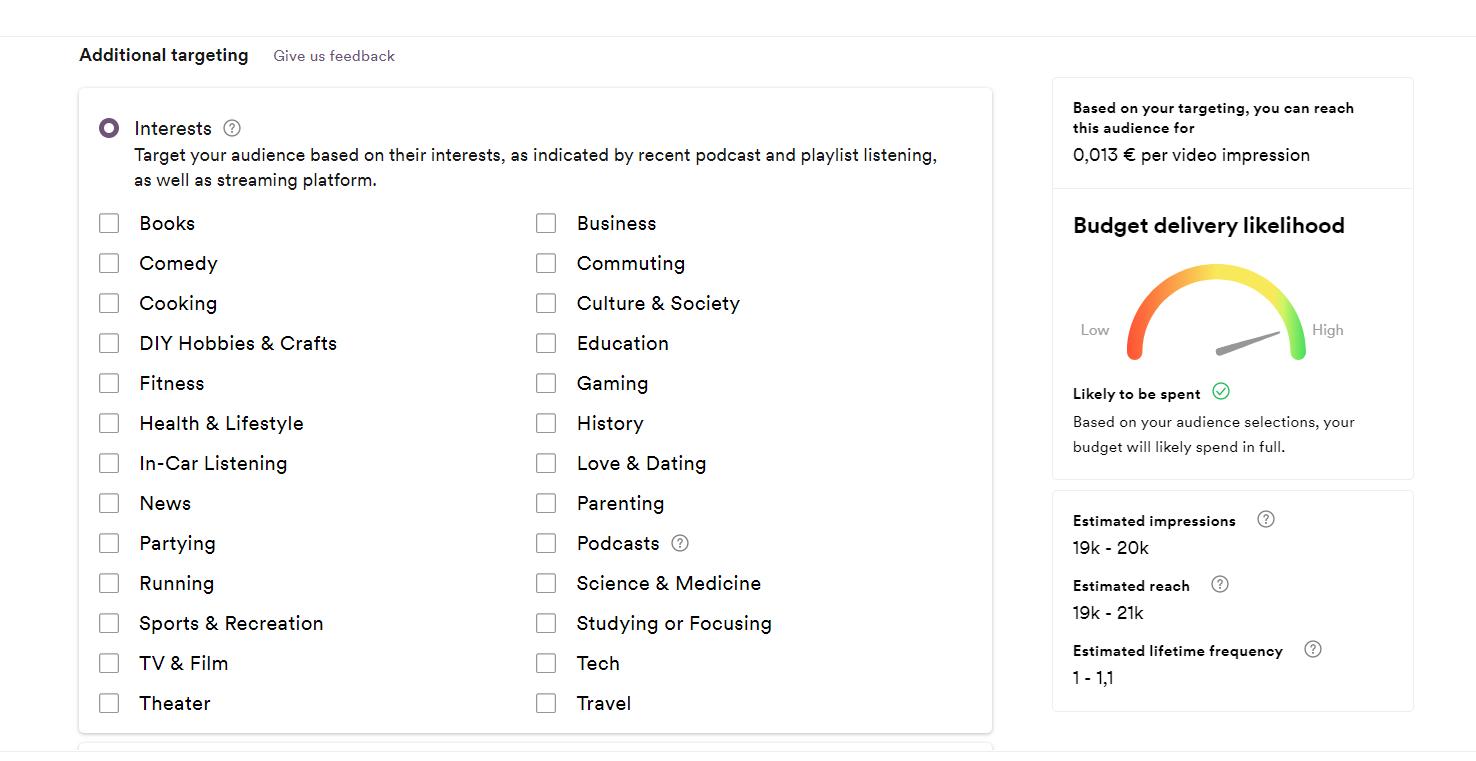 Spotify Ad Studio, la piattaforma pubblicitaria self-service. La scelta degli interessi