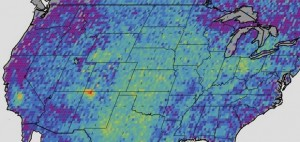 US methane emissions were documented from 2003-2009. The red spot above the Four Corners indicates the highest concentration. Image Credit:  NASA/JPL-Caltech/University of Michigan