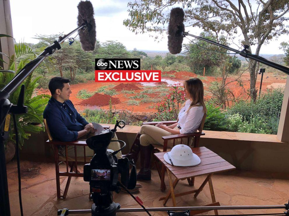 Description: PHOTO: First lady Melania Trump gives an interview to ABC News Tom Llamas.