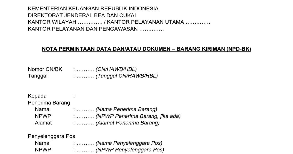 8 Nota Permintaan Data Dan Atau Dokumen Barang Kiriman