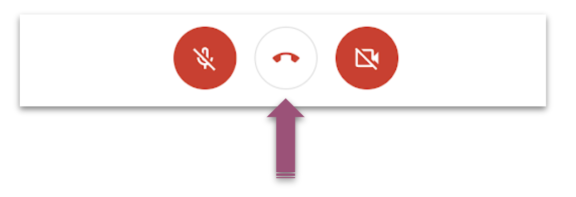 A purple arrow points to the phone icon that is used to leave the meeting.