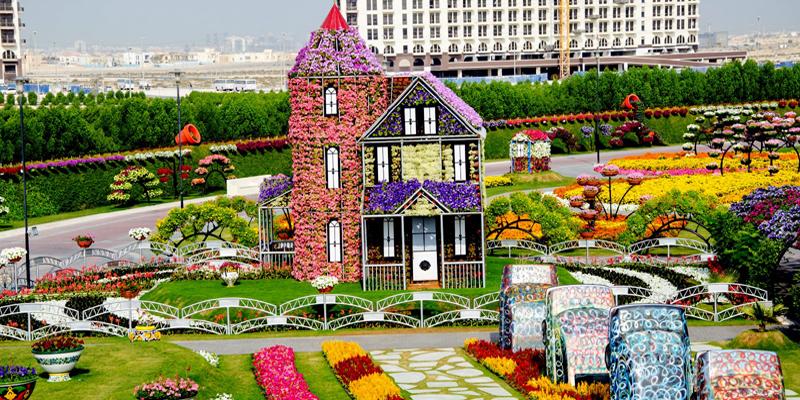 """Là mái nhà chung của… hơn 45 triệu loài hoa quý hiếm, khu vườn Miracle Garden là khu vườn rộng lớn nhất và cũng là độc nhất vô nhị trên thế giới. Ngoài hít thở không khí trong lành và thơm ngất ngây thì bạn còn có dịp tha hồ """"sống ảo"""" tại vườn hoa này nữa đấy. (Ảnh: Internet)"""