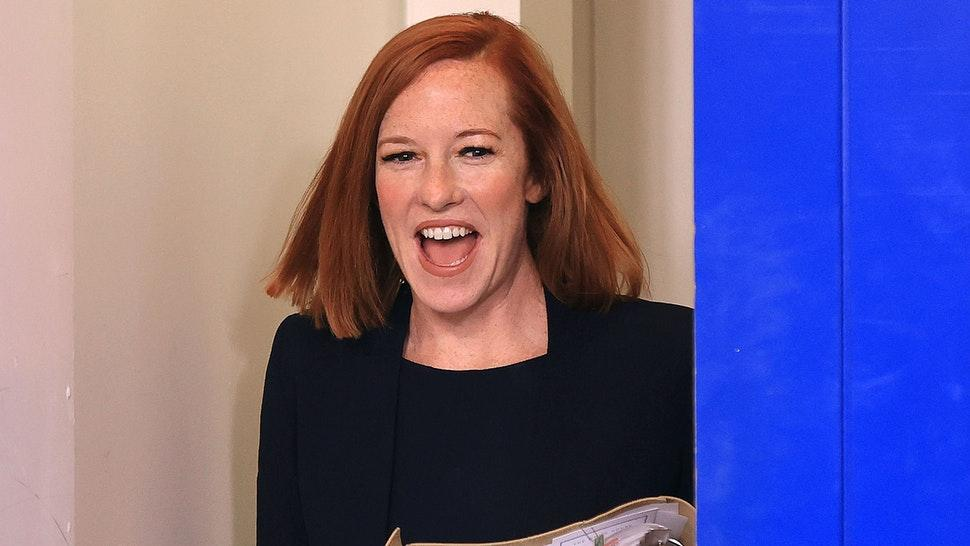 WASHINGTON, DC - JULY 12: White House Press Secretary Jen Psaki arrives in the Brady Press Briefing Room for her daily news conference with reporters at the White House on July 12, 2021 in Washington, DC. Psaki was asked about anti-government protests in Cuba, the assassination of the Haitian president and ongoing work to vaccinate people against COVID-19.