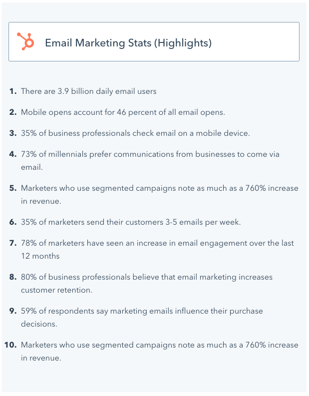 a list of email marketing stats from HubSpot