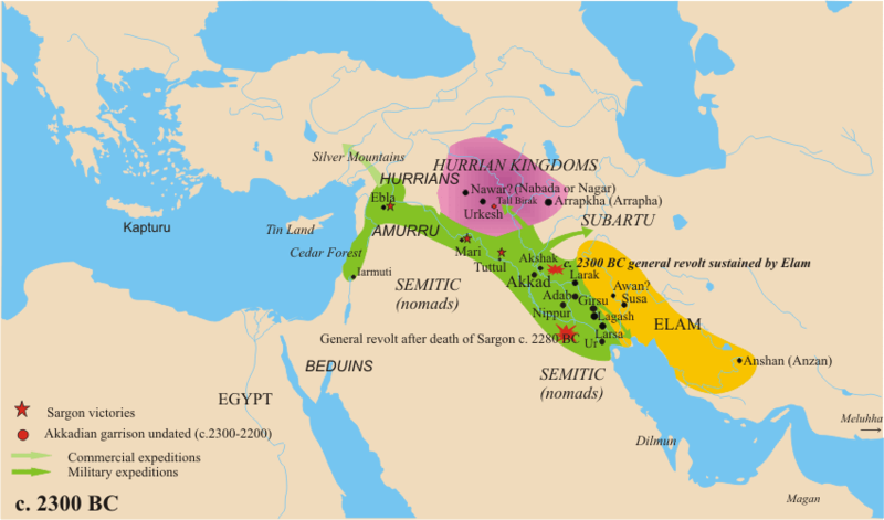 Map of Sargon the Great's empire, noting sites of major battles.