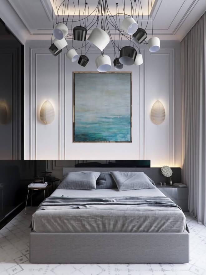 Phòng ngủ màu xám trắng 2