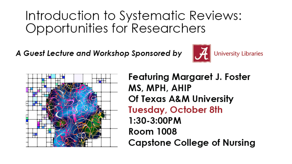 Introduction to Systematic Reviews: opportunities for researchers workshop Tuesday, October 08, 2019,  1:30 PM - 3:00 PM