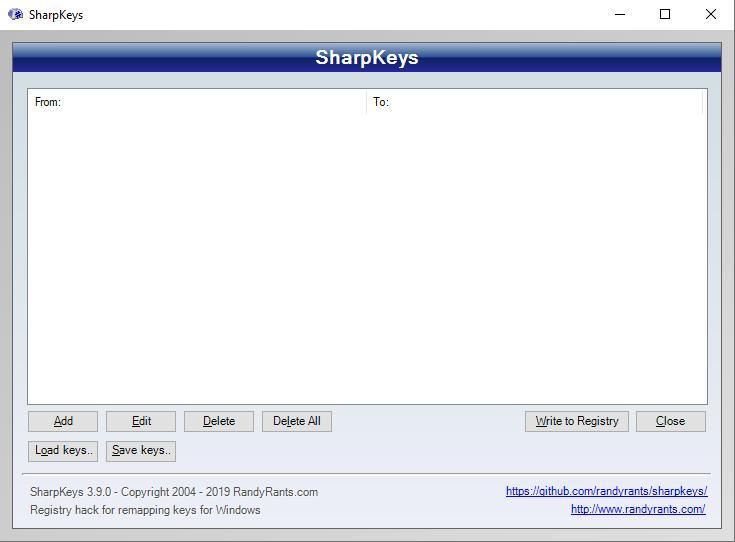 giao diện phần mềm sharpkeys