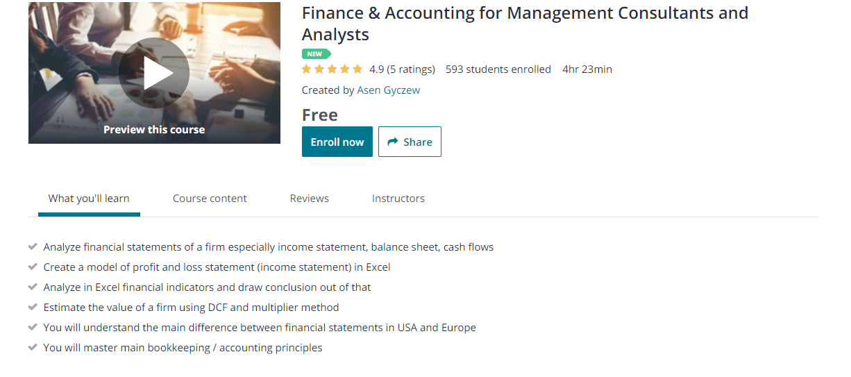Free online course for Accounting