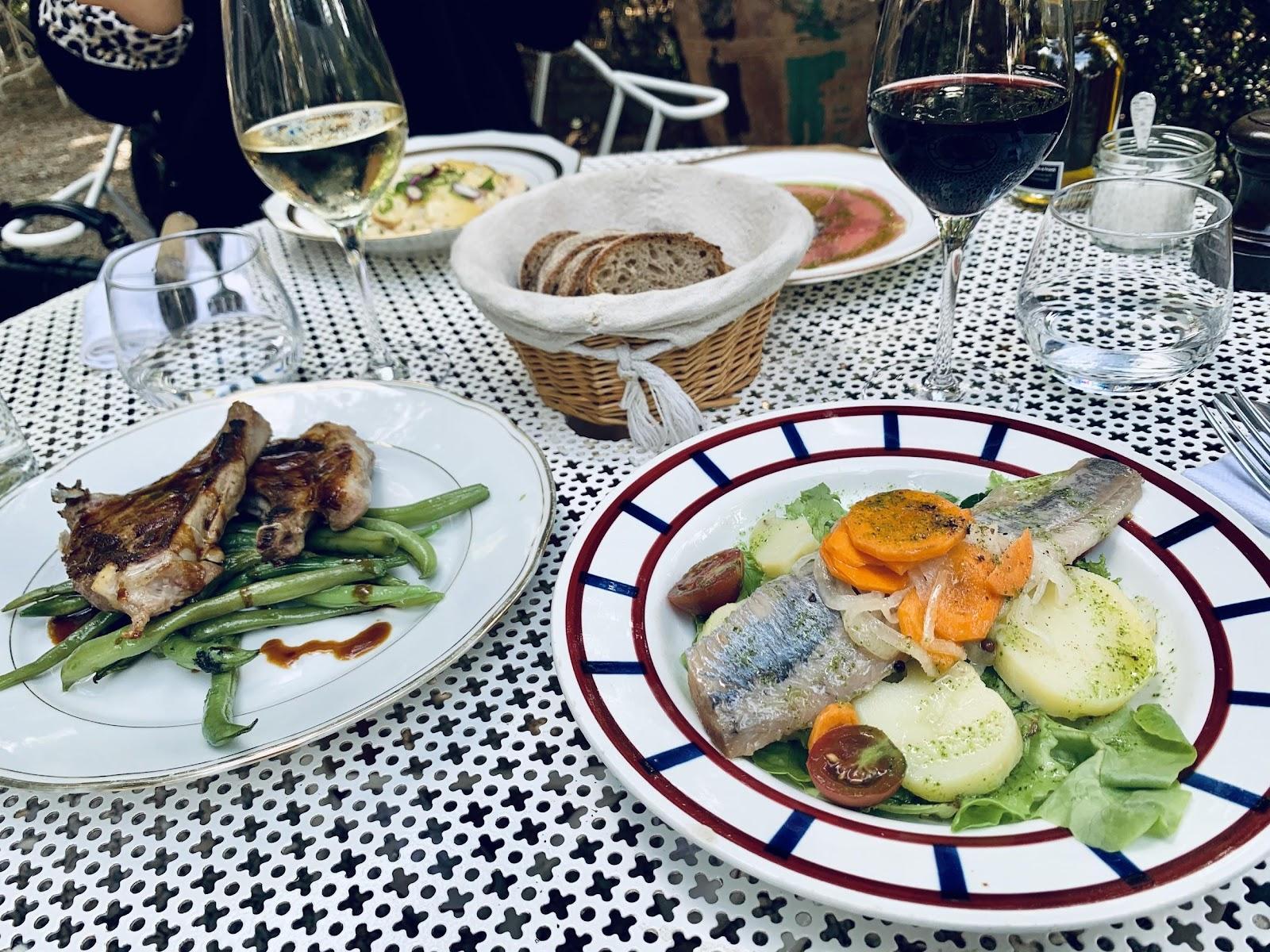 Une image contenant table, assiette, alimentation, assis  Description générée automatiquement