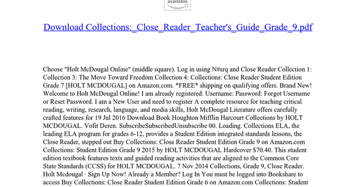 Collections close reader teachers guide grade 9 google docs fandeluxe Image collections