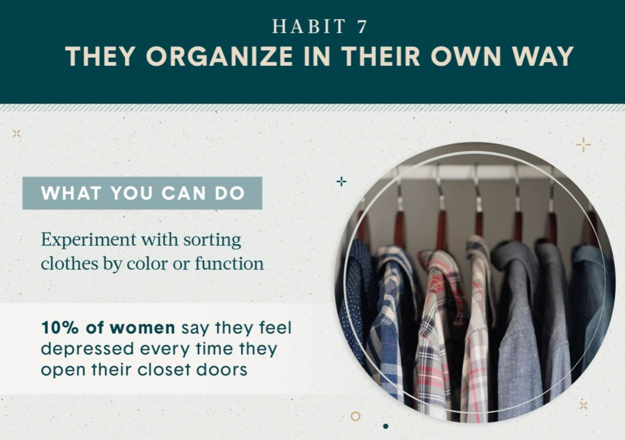 Declutter your home Habit 7 organize your close by colour and function