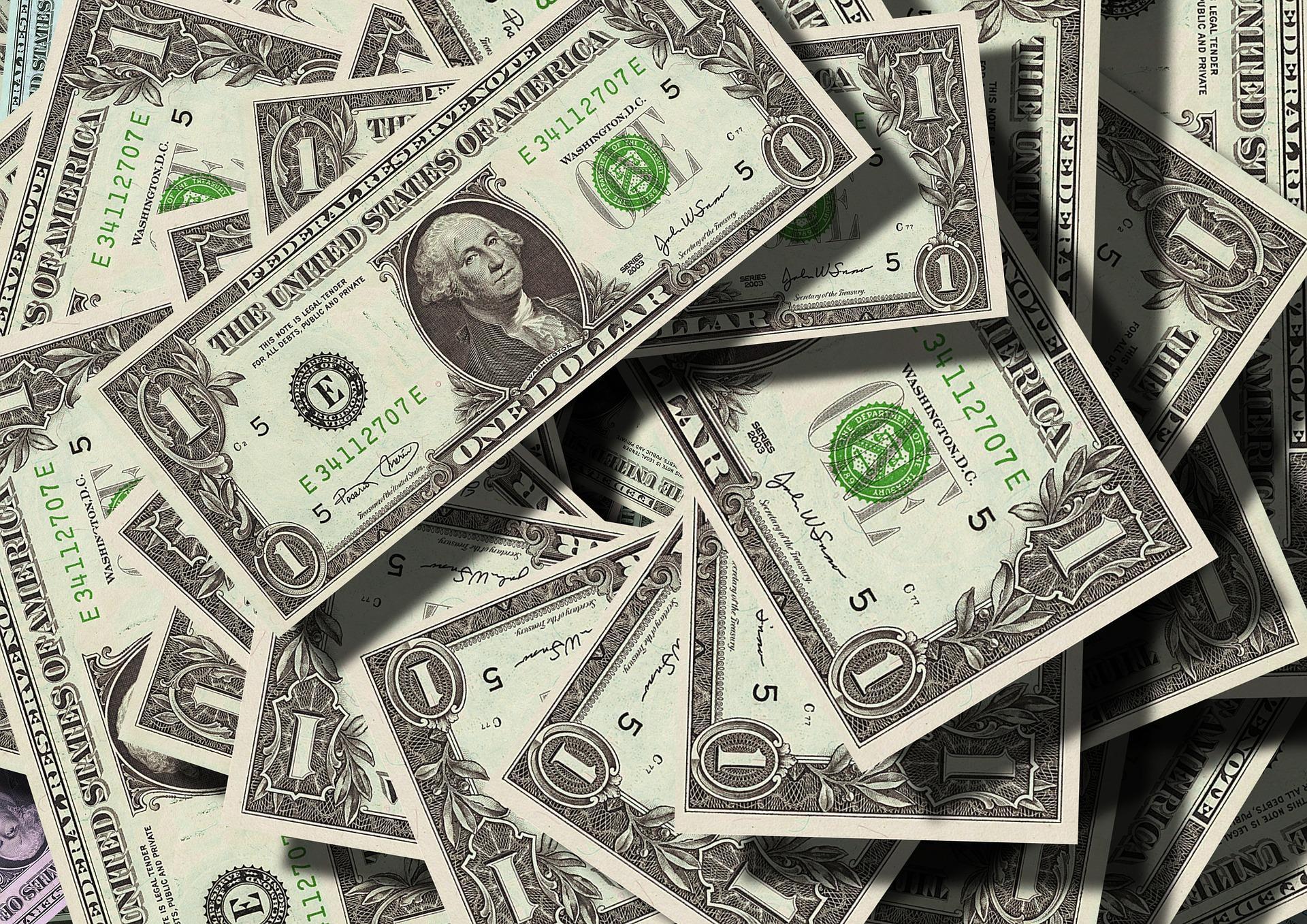 A screen showing money.