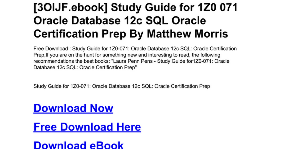 Study Guide For 1z0 071 Oracle Database 12c Sql Oracle Certification