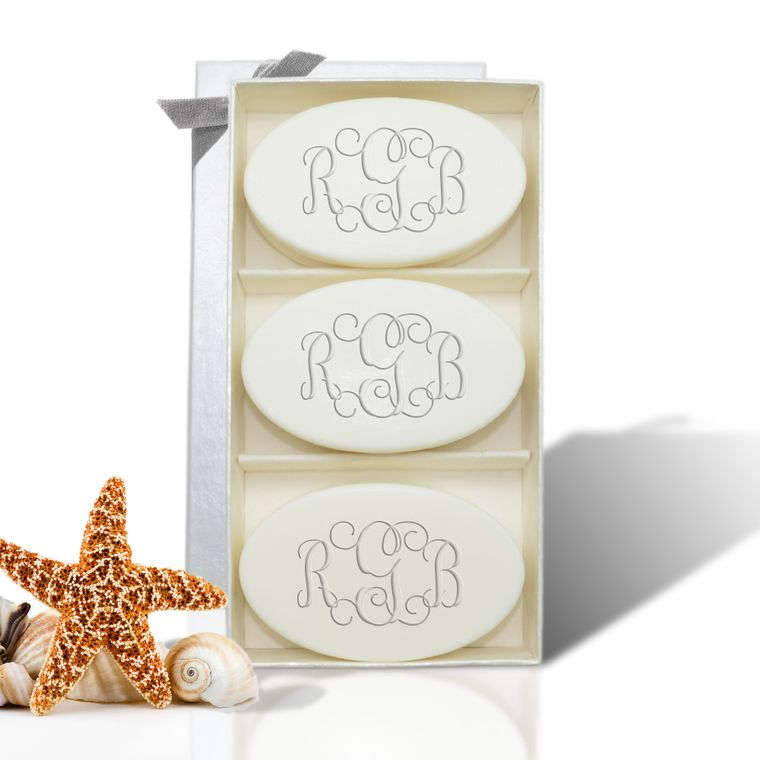 monogrammed soap gift set