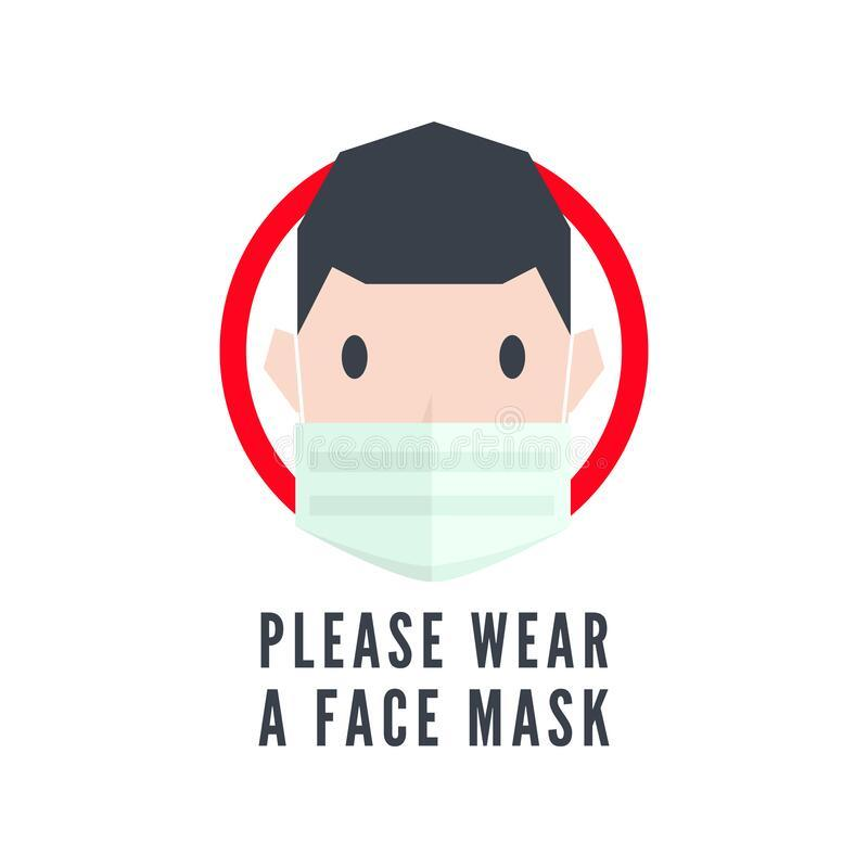 Please Wear A Face Mask Sign. Stock Vector - Illustration of cartoon,  outbreak: 177405164