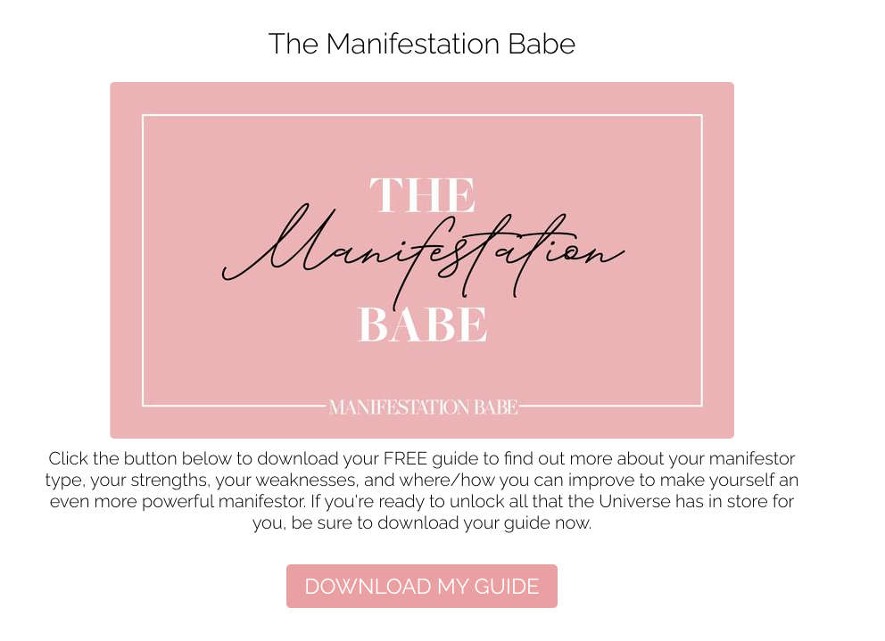 Manifestation babe quiz result with CTA to download guide