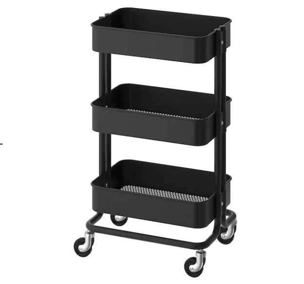 black utility cart for kitchen organization