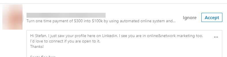 Screenshot of sending an outbound sales email on LinkedIn