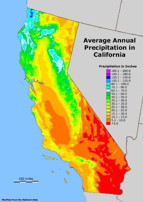 Image result for Rainfall map of California