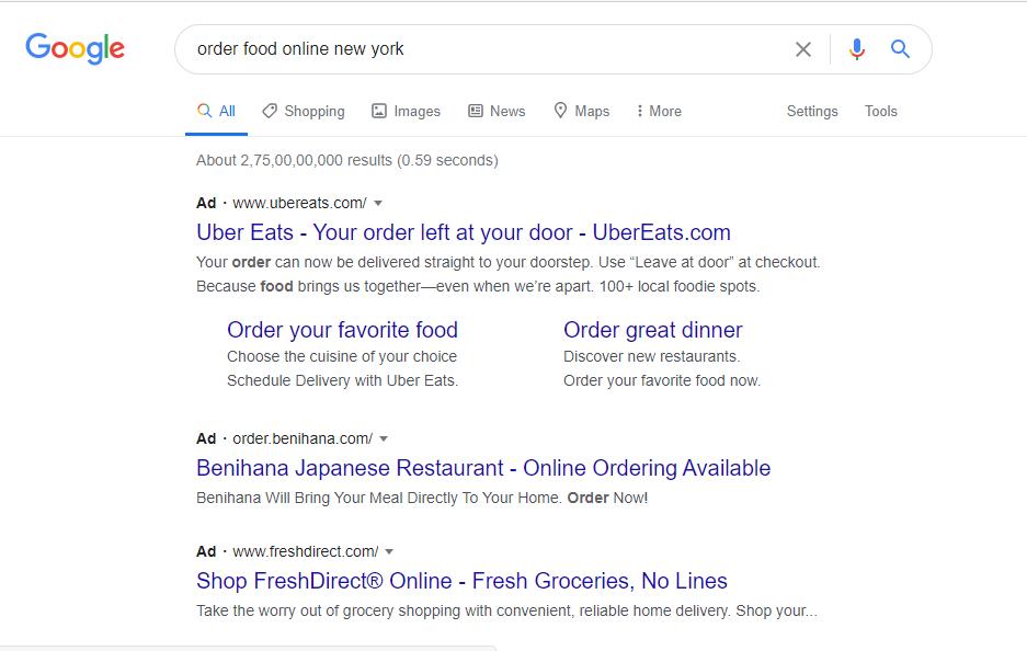 Google search result restaurant