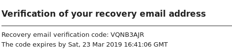 Email Verification of Recovery Account Settings