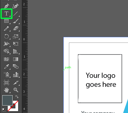 Use the Type Tool in Illustrator to add your personal information