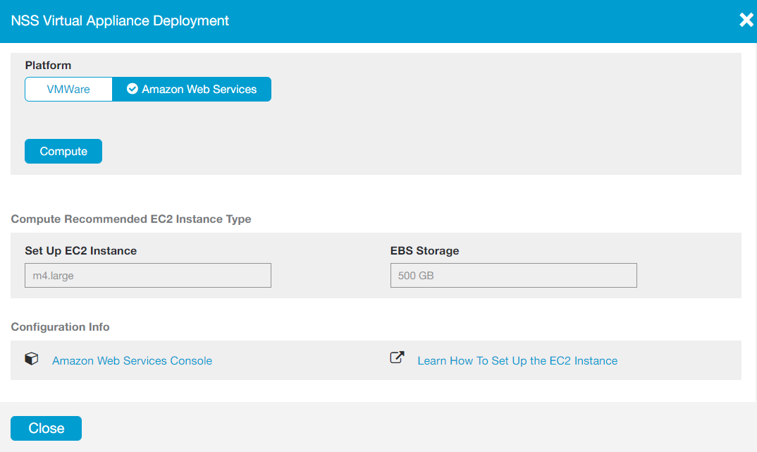 Screenshot of the NSS Virtual Appliance Deployment window with Amazon Web Services selected, and the recommended EC2 Instance Type