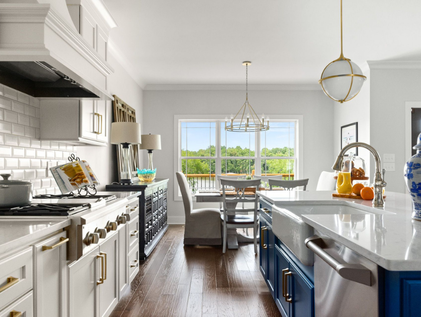 superior construction and design mt juliet general contractor cost traditional kitchen with beveled white subway tile backspash and navy island cabinets with white cabinets