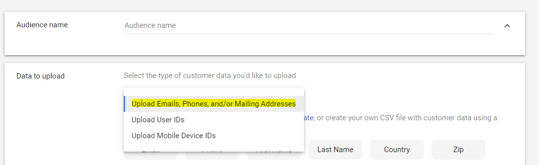 Uploading custom audience file for customer match