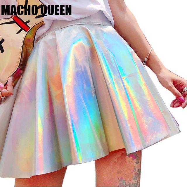 Серебряный Голографические женщины винил юбка одежда панк лазерной голограммой фольга, ткань Расклешенная юбка Rave фестиваль наряды
