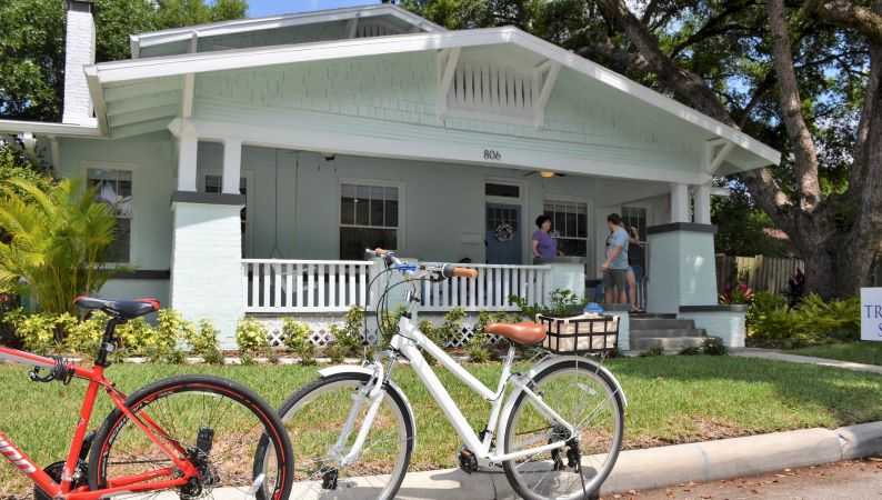 Bicycles in front of Seminole Heights home
