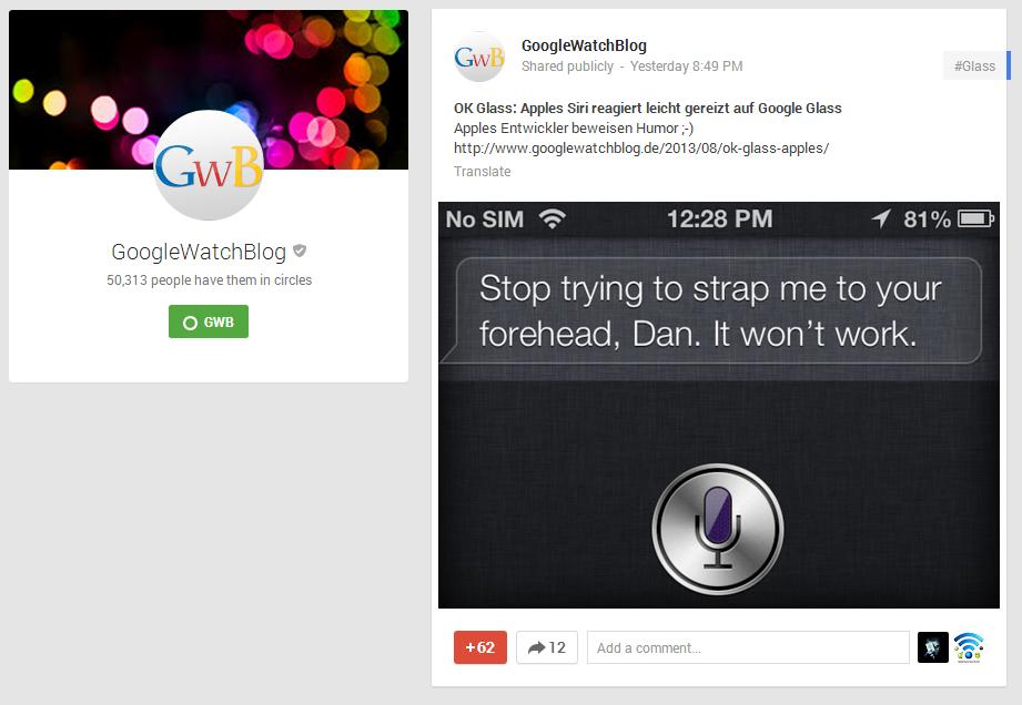 Google+ Beitragsansicht