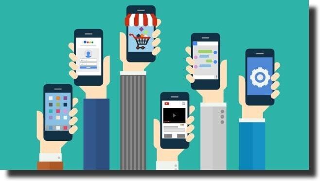 hands and smart phones