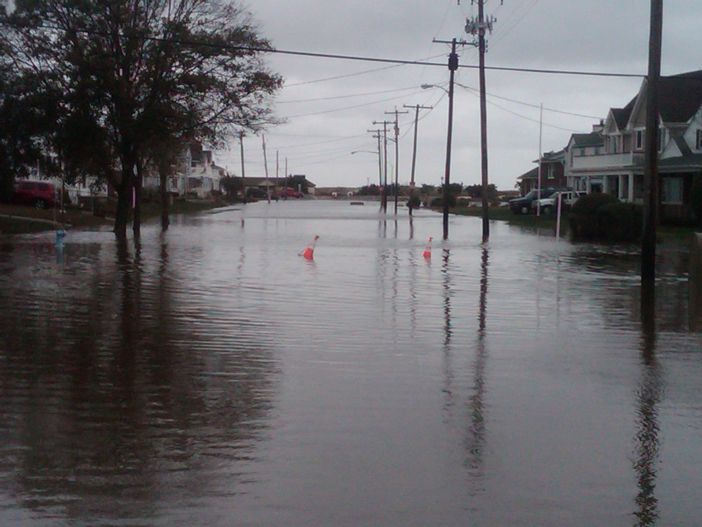 A very watery look at Third Avenue, which leads out to Ocean Avenue in Bradley Beach. (Photo taken Tue, Oct 30)