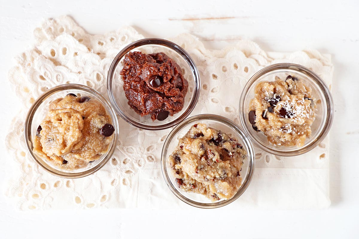 four types of cookie dough