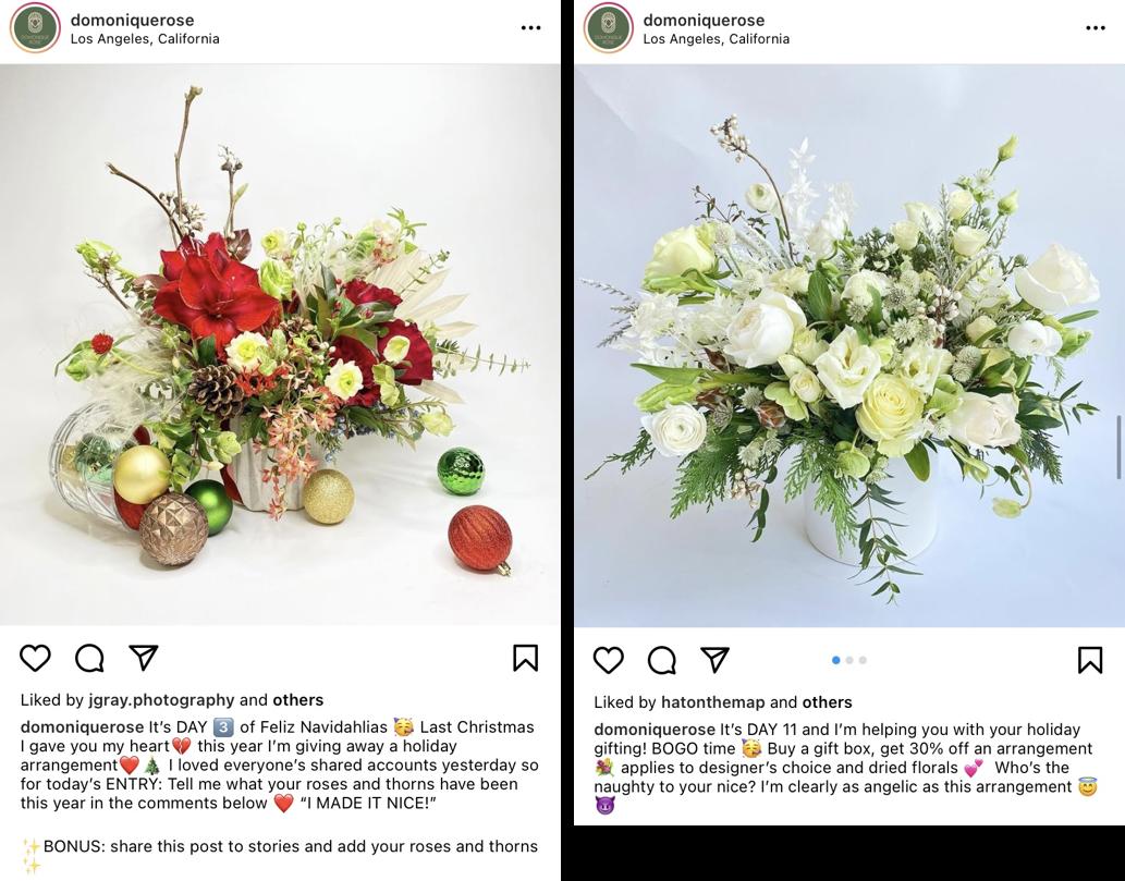Konkurs o tematyce świątecznej na Instagramie – zrzuty ekranu