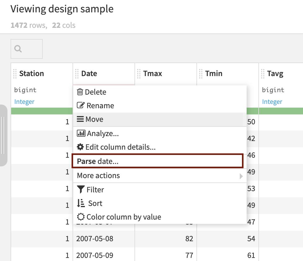 dataiku parse data screenshot