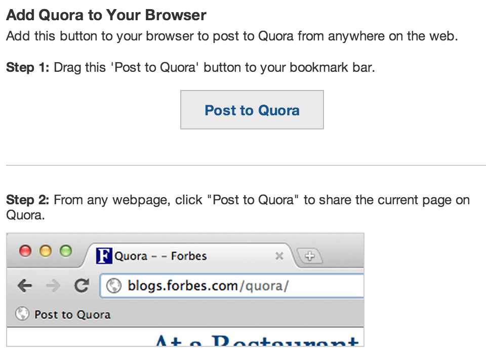 steps to add quora to your browser