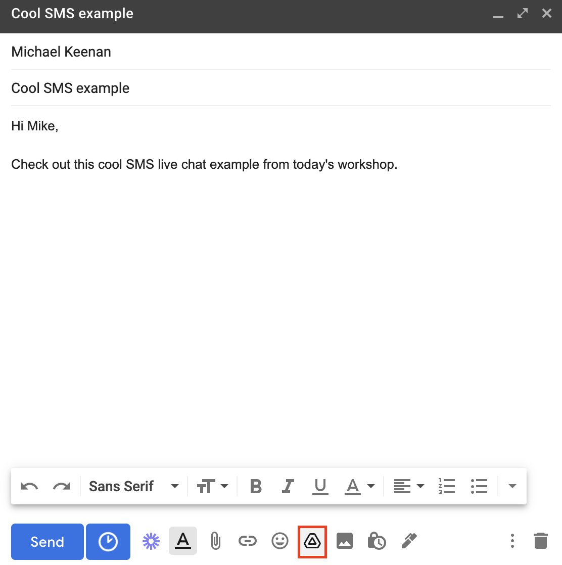 adding video from google drive to gmail email