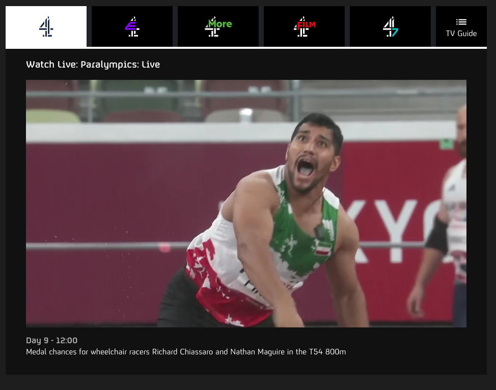 screenshot of reviewer accessing Channel 4 Sports
