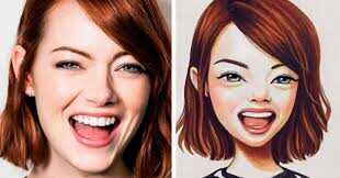 This image is a side by side comparison of a picture before and after using a Picture to Cartoon App.