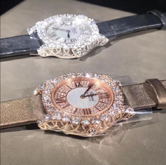 Đồng hồ Chopard chế tác kim cương thiên nhiên, vàng khối 18K