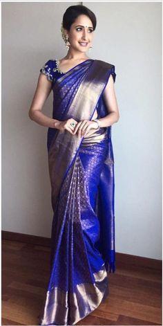 Telugu Actress Pragya Jaiswal Stills In Traditional Blue Saree