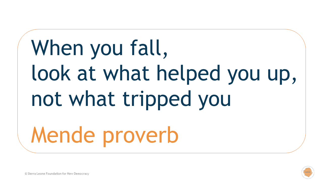 When you fall, look at what helped you up, not what tripped you