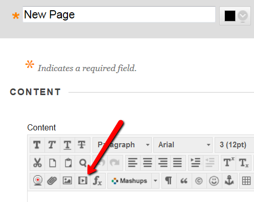 Click on Insert/Edit Embedded media button in Blackboard