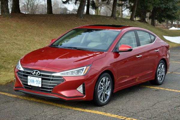 angular-front-of-red-Hyundai-Elantra-2019