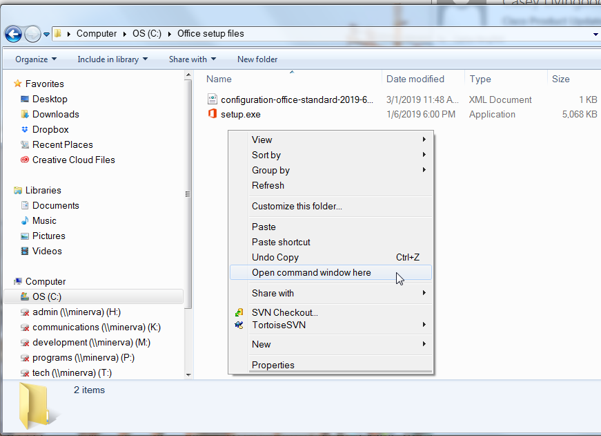 right-click somewhere inside the folder with the setup.exe and configuration files, and select Open command window here.